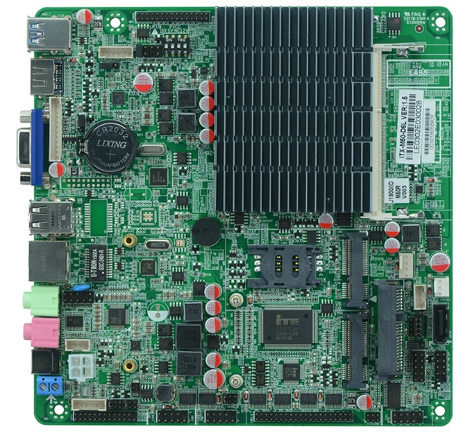 J1900 Bay trail Fanless Motherboard , Mini-ITX Fanless motherboard support RS485 and 24bit LVDS купить недорого в Москве