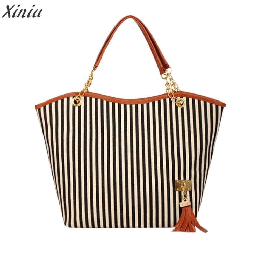 Handbag Girl Stripe Tassels Chain Canvas Shopping Handbag Shoulder Tote Shop Bags Bolsas Feminina