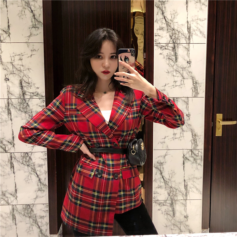 Irregular Women's Spring And Autumn New Retro Waist Slimming Small Suit Double-breasted Plaid Jacket JQ870