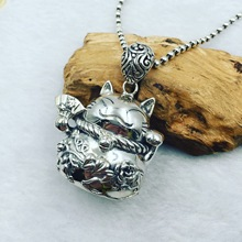 The ancient Thai silver Silver Genuine S925 Lucky Cat Silver Pendant pendant chain car hanging sweater factory direct
