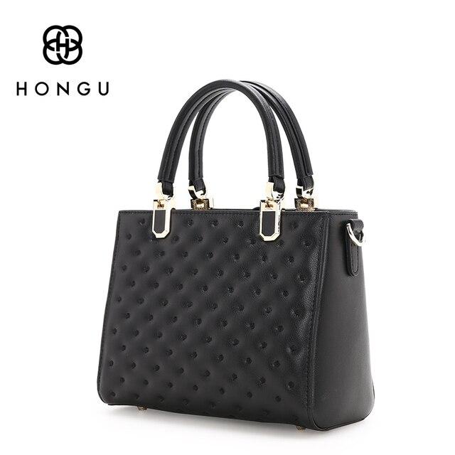 HONGU Famous Designer Cowhide Genuine Leather Bag Rhombus Oblique Square Package Women Handbag Shoulder Tote Girls Versatile Bag