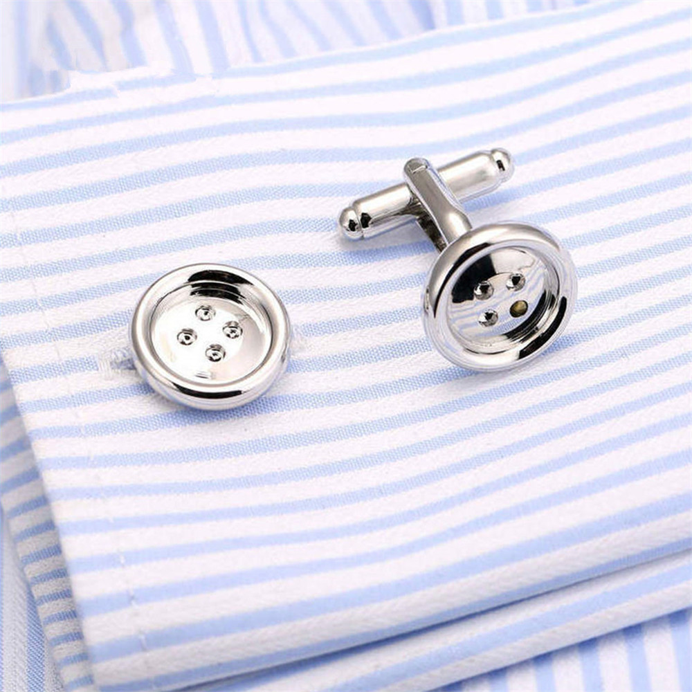 GraceAngie Promotion Button Design Cuff links for Mens New Fashion Silver-color Stylish Best Gift For Men wholesale Price CJ538