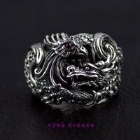 Ювелирные украшения агрессивный мужской 925 пробы серебряные кольца Дракон show фэнтай серебряное кольцо