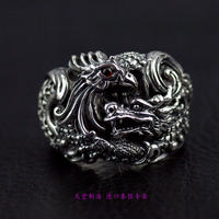 Thailand jewelry aggressive male 925 Sterling Silver rings Dragon show Fengtai Silver Ring