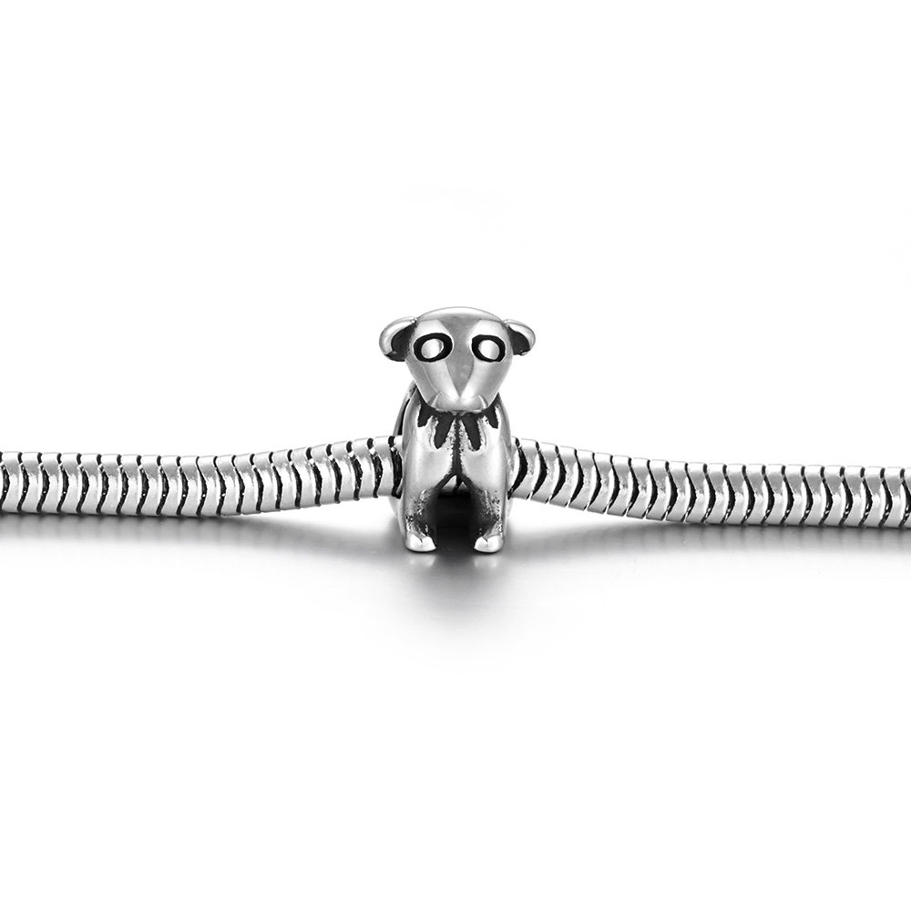 Stainless Steel Bead Dog European Beads 5mm Hole Blacken Animal Charm for Jewelry Making DIY Bracelet Metal Components in Beads from Jewelry Accessories