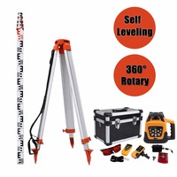 Ship from EU! Self leveling Construction 500M Rotary Rotating Red Beam Laser Level with Tripod
