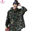 Women Trench Coat Winter 2017 Medium Long Embroidery Patch Camouflage Coat Womens Hooded Europe Ladies loose Casual Windbreaker