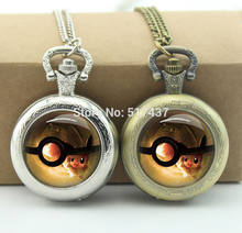 Pokemon Watch Necklace Glass Cabochon Locket Necklace Vintage Bronze Pocket Watch Necklace(China)