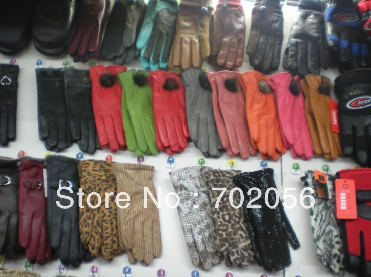 Mixed Leather Gloves Men's Womens Gloves 50pairs/lot #2486