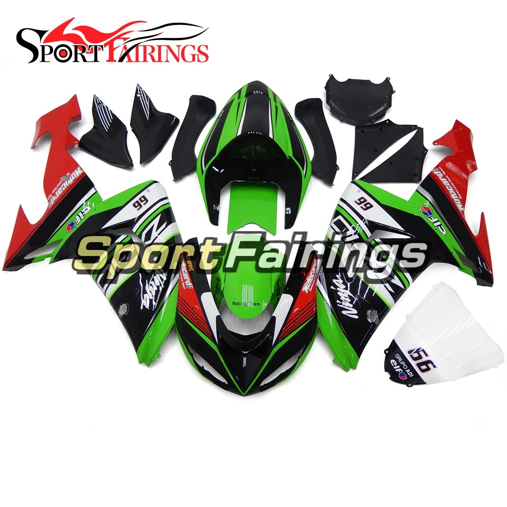 Motorcycle Fairings For Kawasaki ZX10R ZX-10R 06 07 Year 2006 2007 ABS Plastic Injection Fairing Kit Cowlings Green Red Carenes high quality abs plastic for kawasaki ninja zx10r zx 10r 2004 2005 04 05 moto custom made motorcycle fairing kit bodywork c468