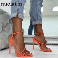 Летние туфли-лодочки в гладиаторском стиле на платформе 11 см; женские туфли с открытым носком на высоком каблуке; женские вечерние свадебны...
