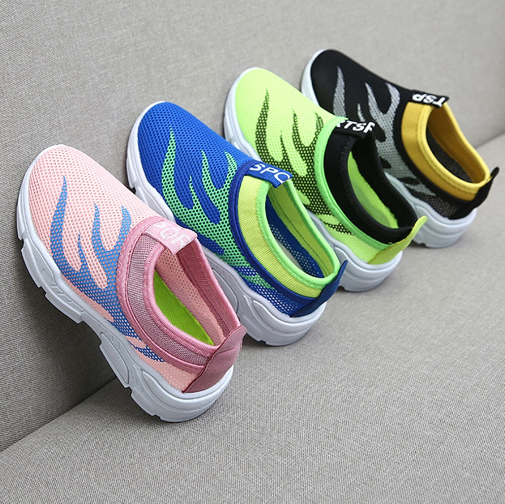 Infant Kids Baby Boys Girls Mesh Fire Print Sport Run Sneakers Casual Shoes Cocuk Ayakkabi Children Shoes Chaussure Enfant 2019