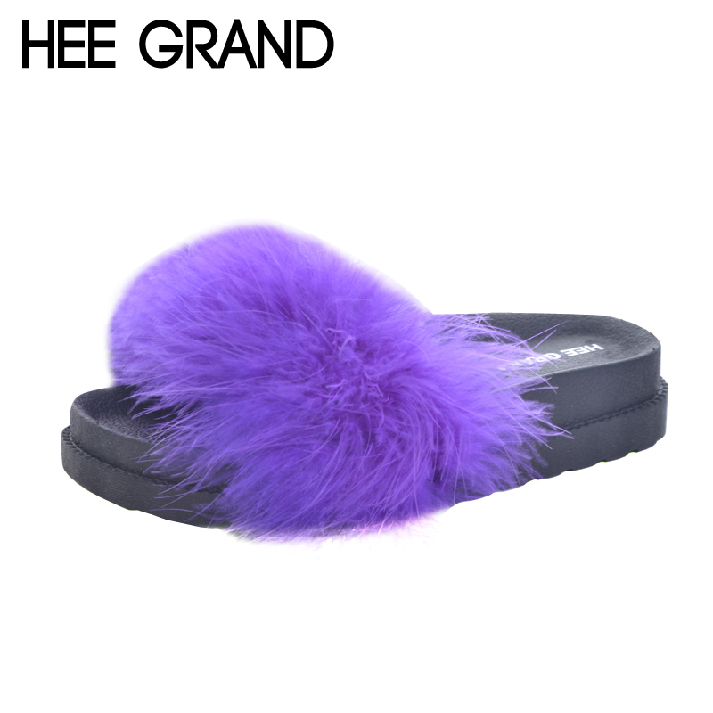 HEE GRAND 2017 Faux fur Slippers Leisure Flats Shoes Woman Slip On Summer Beach Women Shoes Sweet Slides Creepers XWT814 hee grand 2017 bowtie slippers platform sweet solid slides summer casual flats shoes woman slip on creepers xwt851