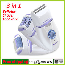 New Rechargeable 3 IN 1 Automatic Female Electrical Epilator Women Face Bikini Hair Removal Trimmer Depilator Purple