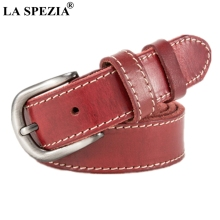 LA SPEZIA Ladies Belt Classic Real Leather Pin For Jeans Women Red High Quality Genuine Cow Female Vintage Belts