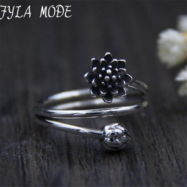 Fyla Mode S925 Vintage Black Lotus Flower & Bud Fashion Women Big Size Ring Thailand Vintage Ring Jewelry 3.50mm TYC034