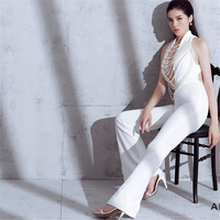 39f39dbb8 CIEMIILI Sexy Sleeveless Women Jumpsuits Hollow Out Long Pants Slim Club  Party Solid Elegant Jumpsuits White. CIEMIILI Sexy Sem Mangas Mulheres  Macacões ...