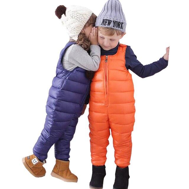 7e33d5f7dff7 2017 Winter Children Kids Duck Down Bib Pants Overalls Toddler Baby ...