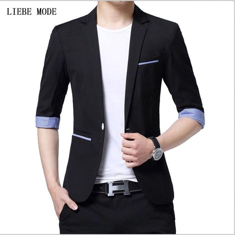 2019 Mens Casual Short Sleeve Summer Blazer Men Candy Color Men Slim Fit Thin Blazer Korean Suit Jacket Male Black Red Pink Blue