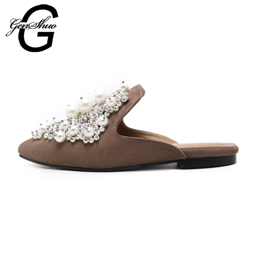 GENSHUO Women Mules Shoes Black Brown Flock Pointed Toe Pearl Bead Crystal Casual Shoes Flat Size 35-40 pointed toe flat mules