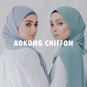 Image 2 - One piece women solid plain bubble chiffon hijab scarf wraps soft long islam foulard shawls muslim georgette scarves hijabs