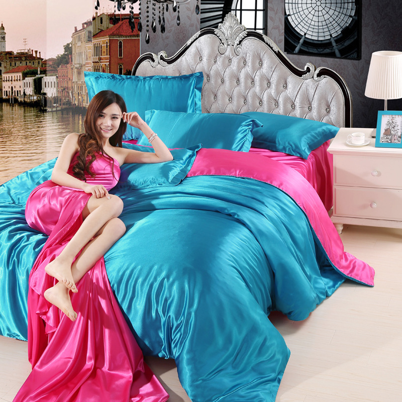 Silk Atin Bedding Set Duvet Cover Bed Sheet Pillowcase 4 Pieces A Lot Quilt Cover Single/Double/Queen/king Size 22 Colors Mixed
