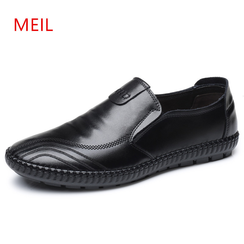 Mens Casual Loafers Leather Shoes Luxury Breathable Slip On Leather Boat Shoes Men Loafers Fashion Moccasins Men Driving Shoes new casual shoes winter fur men loafers 2017 slip on fashion drivers loafer boat shoes genuine leather moccasins plush men shoes