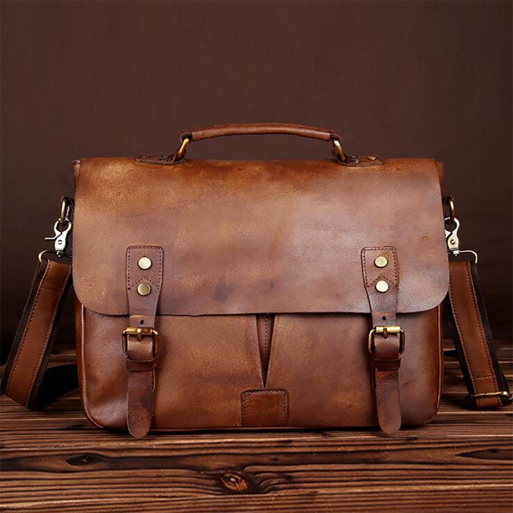 Men Oil Wax Cowhide Briefcase Vintage Male Tote Computer Bags Handbag Business Genuine Natural Leather Shoulder Messenger Bag купить