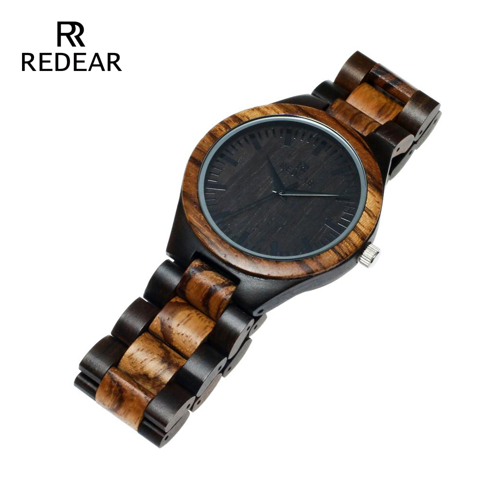 REDEAR Top Quality Wood Watch til mænd Wooden Fashion Brand Designer - Dameure - Foto 5