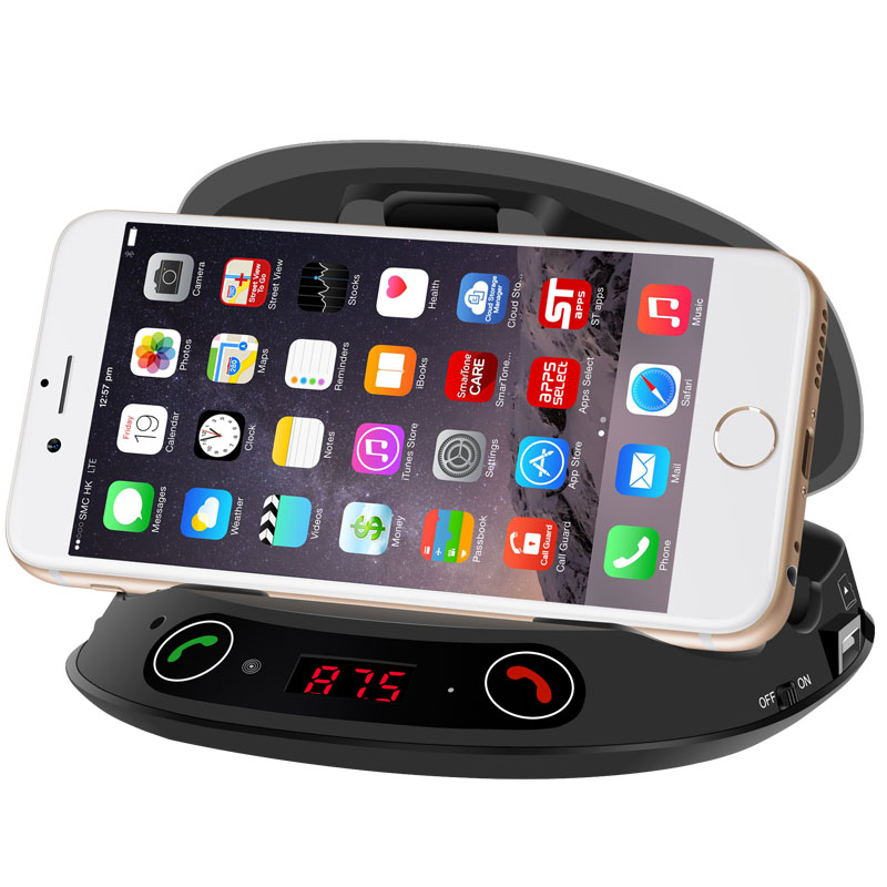 Wireless FM Transmitter Bluetooth Handsfree Speaker Car Kit MP3 Player Car Communication Mobile Phone Holder USB charger fashion wireless bluetooth speaker portable audio amplifier near field communication with mobile power party usb 3 5mm mp3