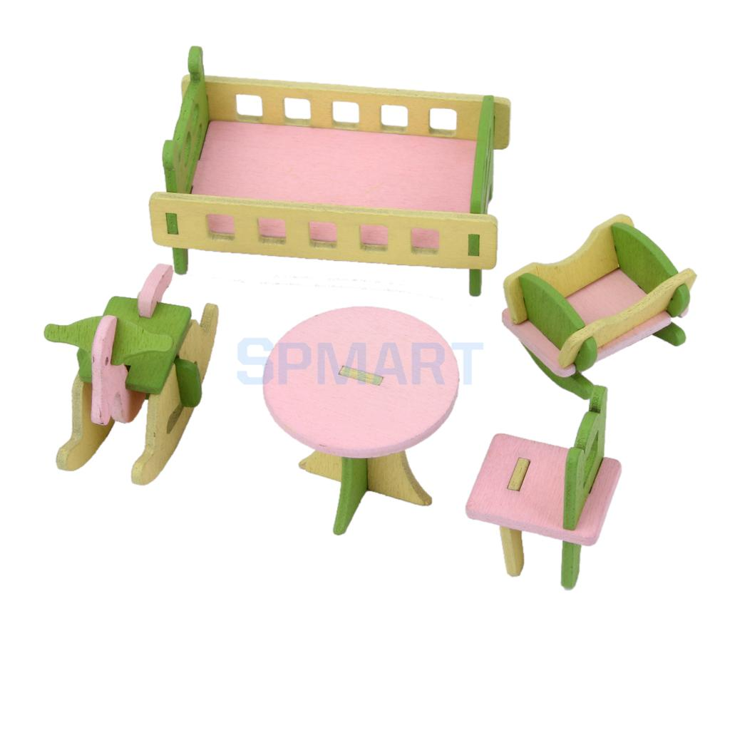 Кукольный домик мебелью Деревянные игрушки для детей спальный гарнитур ...