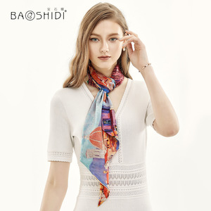 Image 2 - [BAOSHIDI] 2019 Moda Primavera Duplo Rosto Magro, 100% Fita de cetim de Seda, Lenço Elegante, acessório do cabelo senhora cachecol mulheres