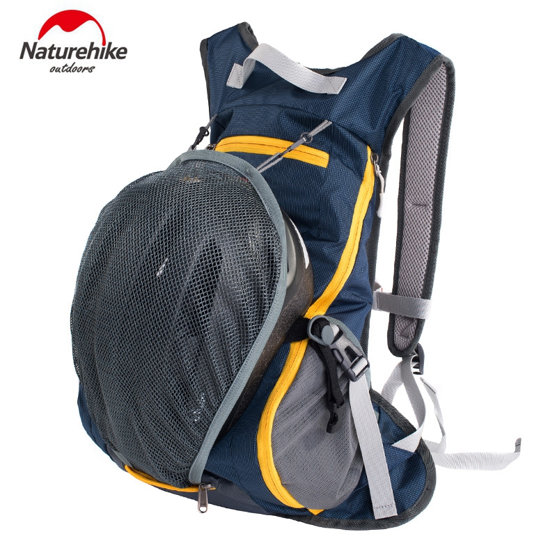 Naturehike Waterproof Cycling Hiking Backpacks Ultralight Travel Bag With Cycling Helmet Cap Pocket 5Colors Nylon Fabric 15L sa212 saddle bag motorcycle side bag helmet bag free shippingkorea japan e ems