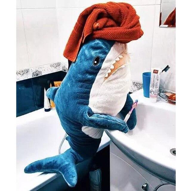 60cm/80cm śliczne rekin pluszowe zabawki wypchana zabawka dla dzieci zabawki dla dzieci chłopcy poduszka dziewczyny zwierząt poduszka do czytania na urodziny prezenty
