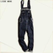 Plus Size One Piece Black Denim Jumpsuit Men Autumn Winter Mens Black Overalls Jeans Suspender Pants Size S-XXL XXXL