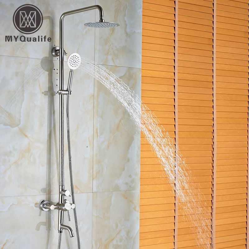 Luxury 3-functions Bathroom Tub Shower Faucet Set Wall Mounted 8/10/12 Rainfall Shower Head with Handheld Shower