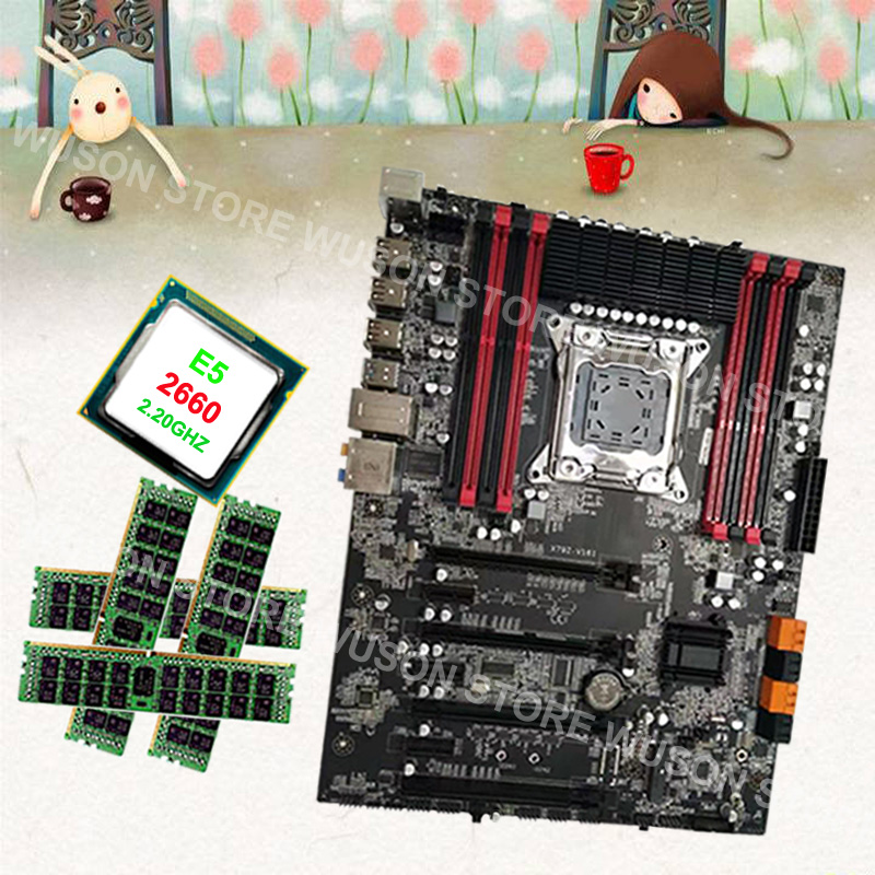 Buy gaming PC motherboard brand Runing Super ATX X79 motherboard with CPU <font><b>Intel</b></font> <font><b>Xeon</b></font> E5 <font><b>2660</b></font> C2 2.2GHz 4*16G 1600MHz DDR3 RECC image