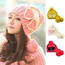 Женщины Зимняя Мода Цветочным Узором Hat Лыж Шапочка Бал Шерстяная Пряжа Kintted Cap