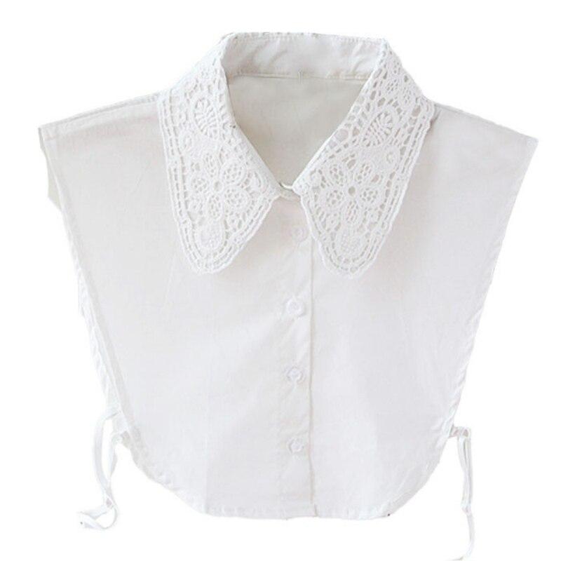 Vintage Fake Lace Shirt Blouse Peter Pan Detachable Collar Tie Women's Blouses 3 Colors