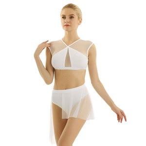 Image 5 - Frauen Ballerina Ballett Kleid lyrical dance kostüme Asymmetrische Zeitgenössische Ärmel Criss Cross Crop Tops mit Ballett Rock