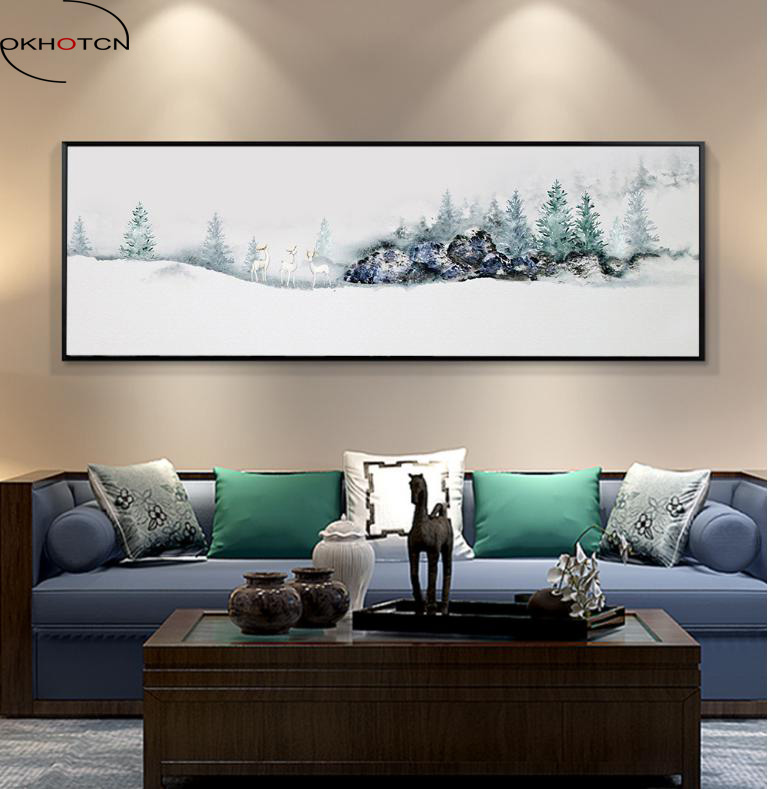 Elk Oil Painting Landscape Scenery Living Room Decoration Poster Nursery Wall Picture Canvas Kids Decor