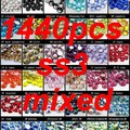 Non Hotfix Cristal Pedrinhas Para Nails Art 1440 pcs ss3 1.2-1.4mm Rodada Cores Sortidas Coloridas Pedras FlatBack Vidro Decoração Diy