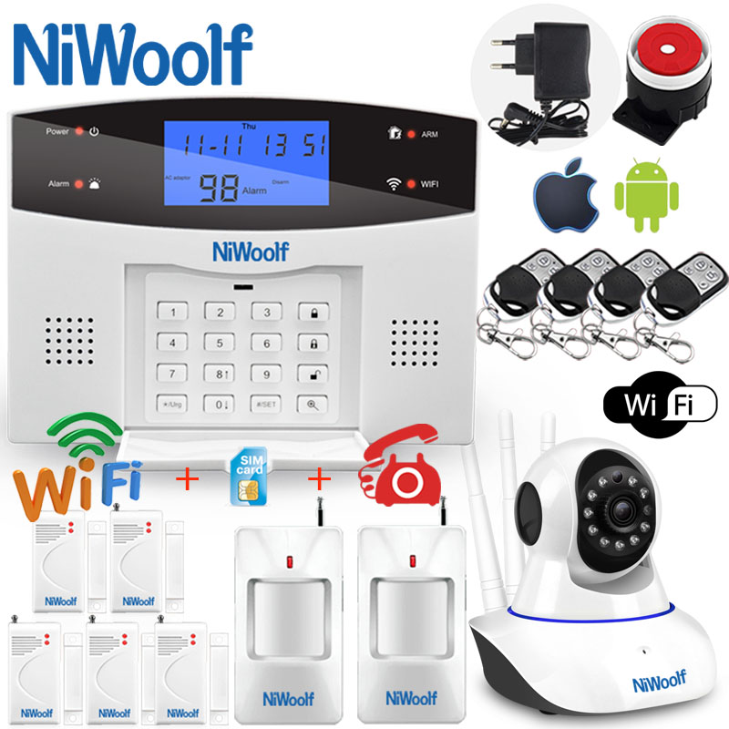Wifi PSTN GSM Alarm System 433 Wireless Wired Detectors Alarm Smart Home Relay Output APP English/Russian/Spanish/France/Italian(China)