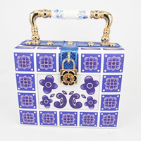 New Style Fashion Design Elegant Blue Printing Ceramic Handle Women S Handbag Shoulder Bag Mini Messenger