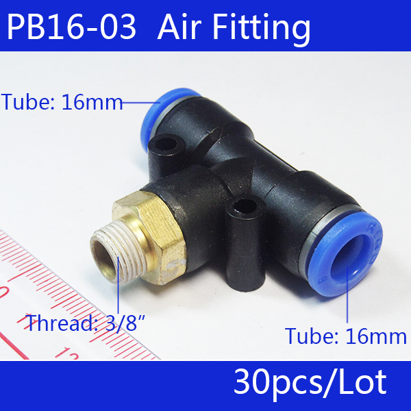 Free shipping HIGH QUALITY 30Pcs PB16 03 Pneumatic 3 8 Male Thread 16mm Push In Quick