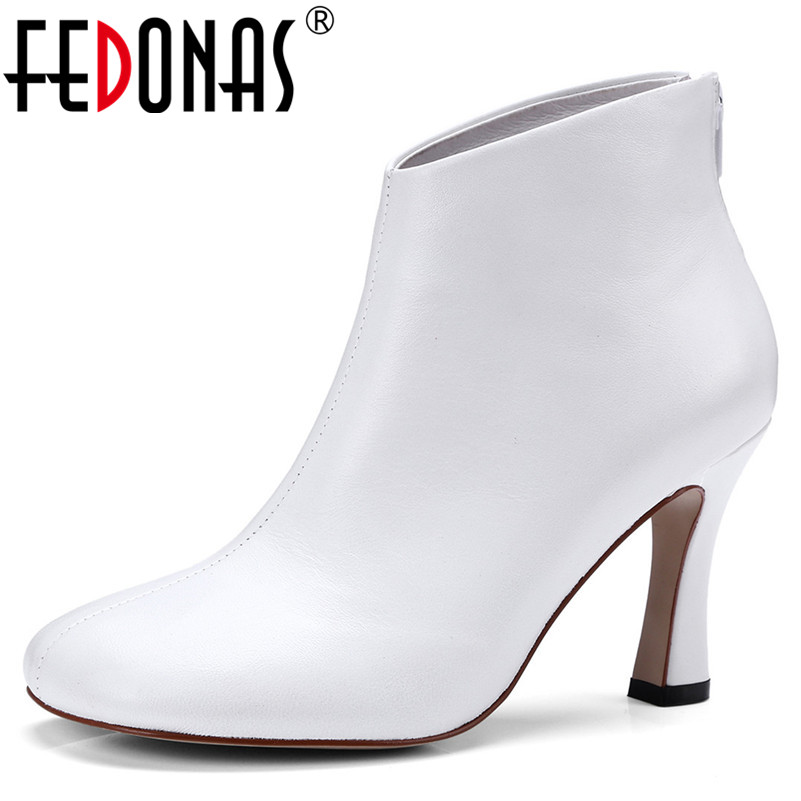 FEDONAS New Basic Boots Women Soft Leather Autumn Winter Zipper Shoes Woman Elegant Office Pumps Female High Heeled Ankle BootsFEDONAS New Basic Boots Women Soft Leather Autumn Winter Zipper Shoes Woman Elegant Office Pumps Female High Heeled Ankle Boots