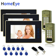 Password+ID Card+ Remote Unlock 7'' Video Door Phone Video Intercom Door Bell Home Access Control System for 2 Doors Waterproof apartment wired video door phone audio visual intercom entry system 6 unit