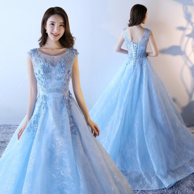 Vintage A line Long   Evening     Dress   Appliques Beads Elegant Floor Length Train Sky Blue Prom   Dresses   2019 New