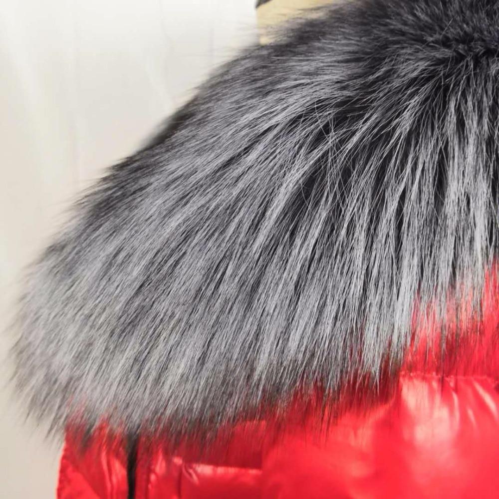 US $44.58 34% OFF|Neue 100% Natürliche Pelz Kragen Luxus Silber Fuchs Pelz Kragen Ring Schal 90 cm Frauen Echten Fuchs Pelz Kragen für unten Jacke
