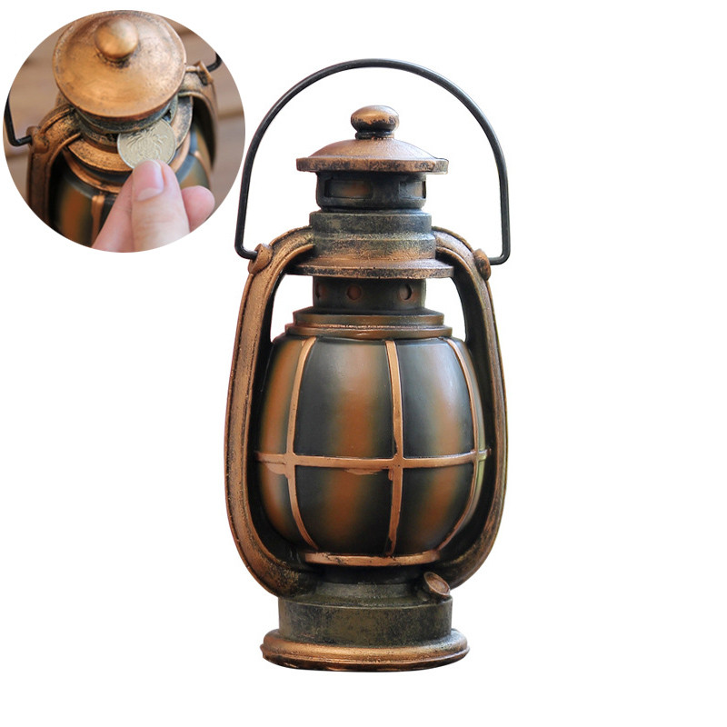 Retro Style Kerosene Lamp Money Tank Home Office Decor Classic Piggy Bank Resin Ceramic Dispenser Coin Bank Kids Toy Money Box